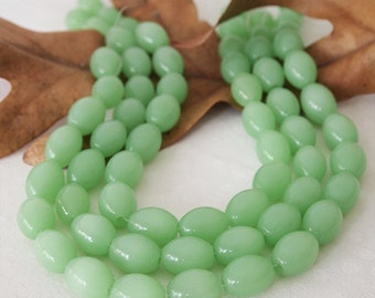 Strand Glass Oval Opaque Jade Beads Light Green Large Hole Size 16mm