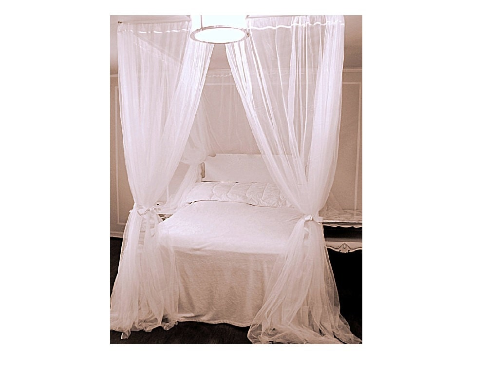 ?zoom  sc 1 st  Etsy & Twin Bed Canopy With Chiffon Curtains Four Poster Bed Panels