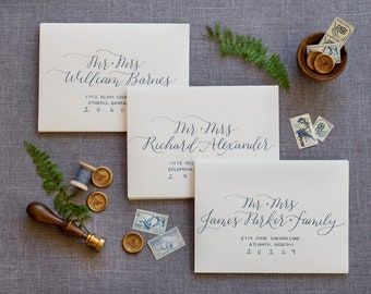 Hydrangea Style Envelope Calligraphy; Custom Wedding Calligraphy