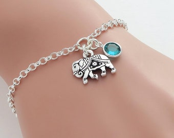 Personalised Elephant Bracelet, birthstone crystal, initial, gift for her, strength, luck