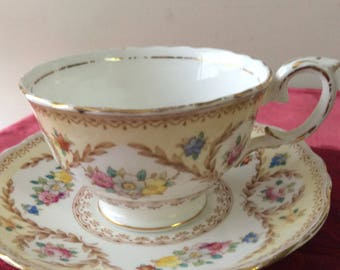 Crown Staffordshire Cup and Saucer  Fine Bone China  Vintage   #312