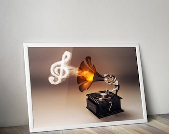Let The Music Play :gramophone, record player printable poster, wall art