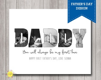 Custom Name Photo Wall Art Printable My First Love,  Gift for Dad, Father's Day Gift, Photo Gift, Poppy, Daddy etc
