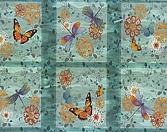 Fabric patchwork/decorating painting BUTTERFLIES 110 X 59 CM