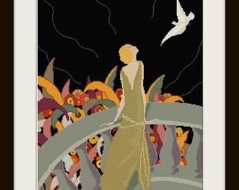 Art Deco 1920s Fashion Cross stitch pattern PDF Dove Orange and Gray