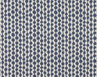 Blue And Off White Circle Striped Designer Quality Upholstery Fabric By The Yard | Pattern # A0010E