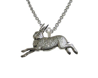 Running Rabbit Hare Pendant Necklace