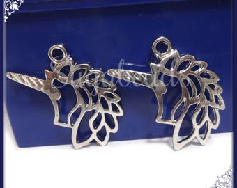 4 Silver Tone Unicorn Charms 28mm PS233