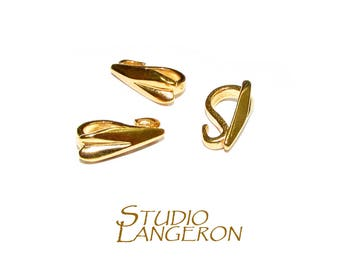 14K Yellow Gold Filled Teardrop Heart Bails with Hidden Loop sizes 10.0х3.5 mm, Gold filled Bail, Bail, Gold Filled, Bail finding - 1 piece