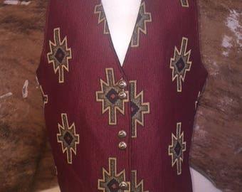 Aztec Tapestry Western Longhorn 90's Vest