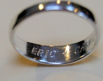 Engraving on Rings by Lstella Sterling lettering inside ring