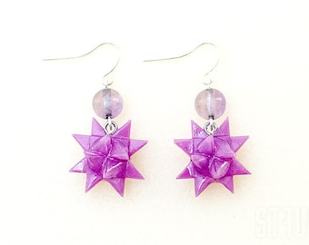 Purple origami star earrings with a purple transparent bead. Purple earrings. Star earrings. Violet star earrings. Origami earrings.