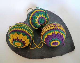 Hand-made set of three crochet baubles decorative ornaments - Gem