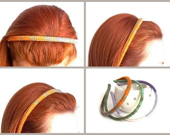 Multicolor Hair Band. Knit Mustard, Orange, Gray Head Wrap. Eco Friendly Headband Hair.