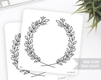 FW01 | Flower Wreath Sticker | Decorative Sticker | Planner Stickers | Bullet Journal Stickers