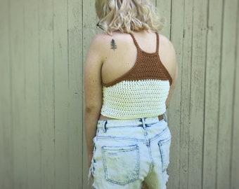 READY TO SHIP Racerback Crocheted Crop Top, Crop Top, Tank Top, Festival Top, Festival Wear, Summer Crop Top, Summer Tank, Crochet Crop Top