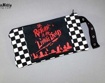 Return Of The Living Dead Zombie Horror Movie Halloween Pouch Makeup Bag Wristlet 80s Checker Racer Purse Evil Dead