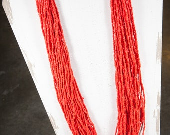 Handmade Coral Navajo Seed Bead Necklace, Multi Strand Necklace, Coral Color Necklace, Native American Jewelry, Statement Necklace