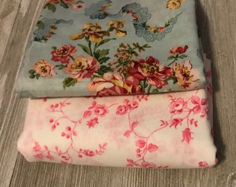 Vintage floral fabric duo in pinks and blues