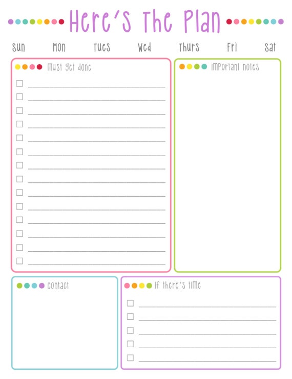 Here S The Plan Daily To Do List Printable Colorful Dots