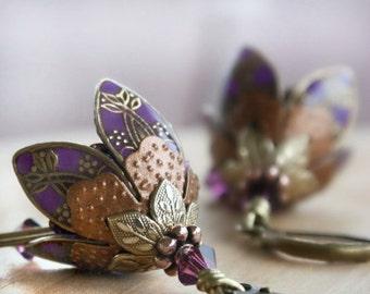 Romantic Gift, Purple Flower Earrings, Crystal Dangle Drop Earrings, Love Gift, Gift For Her, Girlfriend Gift, Wife Gift, Valentines Day