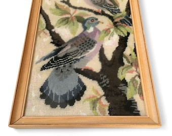 Vintage 1970's, Wood-Framed, 2 Birds, Tree, Leaf Motif, Needlepoint, Wall Hanging, Wall Art