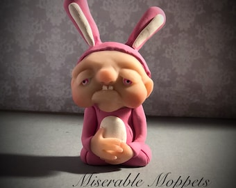 EASTER BUNNY Mini Moppet, ooak, one of a kind, handmade sculpture, polymer clay doll,