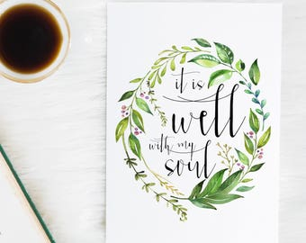 It is well with my soul - Hymn lyrics - Scripture Art - Bible Verse - Bible Verse wall art - Gifts for women - Gifts for her