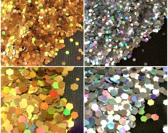 Golden/ Silver Holographic Lasers Nail Glitter Acrylic Powder Dust Hexagon Nail Art Decorations Manicure Tools