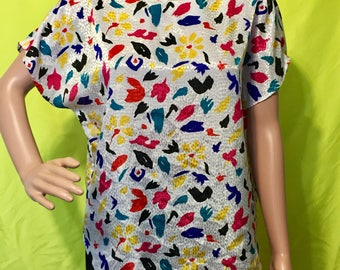 1980s Abstract Floral Top, S-M