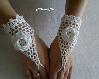 Crochet Wedding Gloves, Crochet Mittens, Fingerless Gloves,Crochet Bracelet, White, 100% Cotton.