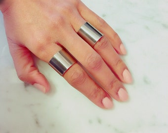 Stainless Steel Tube Ring Band Silver Cigar Band Ring Minimalist Modernist Wide Ring Steel Band Steel Ring Cuff Steel Tube Ring