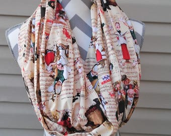 Christmas Scarves, Norman Rockwell Scarf, Infinity Scarf, Neck Scarf, Womens Scarves, Fashion Scarves, Loop Scarf, Circle Scarf