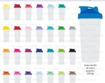Shaker Bottle - Protein Shake - Smoothie Bottle Icon Digital Clipart in Rainbow Colors - Instant download PNG files