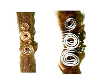Swirly spiral dreadlock bead, sister lock jewelry.