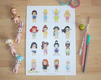 Affiche A4 - Illustration Sonny Angel x Princesses Disney