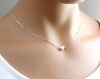 Single Floating Pearl Necklace, Single pearl,  Sterling silver,  Bridal necklace,  Bridesmaids Gift, Wedding jewelry