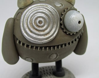 Steampunk Bolt Monster small mega cute monster signed dated with tag