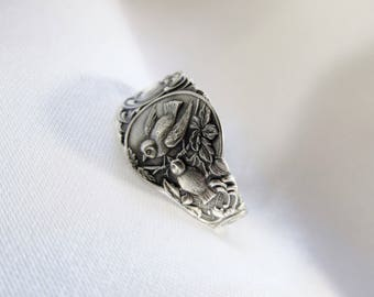 Nature Inspired Bird Spoon Ring Sterling Silver Wendell 1890s Birds Woodland Nature Animal Ring by Treasure Grotto