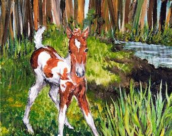 """Original Chincoteague Pony Painting, """"Chincoteague Mischief"""""""