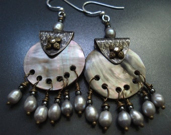 Mother of Pearl Hammered Silver Wire Wrapped Grey Pearls Riveted  Earrings Antique Faced Unique Chandelier Earrings Sterling Silver Earrings