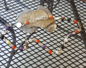 Nickel silver all natural : amethyst carnelian black onyx Jade  beaded linked necklace