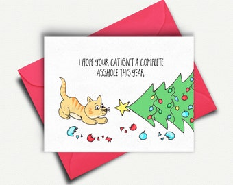 Funny Cat Christmas Card, Cat Lover Card Gift, Cat Card, Cat Gifts, Funny Holiday Card for Mom, Crazy Cat Lady Card, Merry Christmas Card