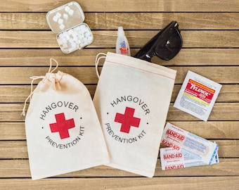 "Hangover Kit Bags - ""Hangover Prevention Kit"" favor bags - Bachelor Party Bags - Wedding Hangover Kits - Hangover Kit Bags - Bachelorette"