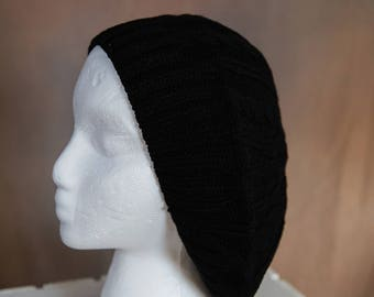 Black Slouch/Beret Hand Knit Hat