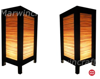 SALE 16%Off Set of 2 Asian Oriental Design Bamboo Art Bedside Floor or Table Lamp or Bedside Paper Light Shades Furniture Home Decor