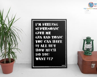Oasis Poster - Supersonic - print / art - Song Lyric Typography
