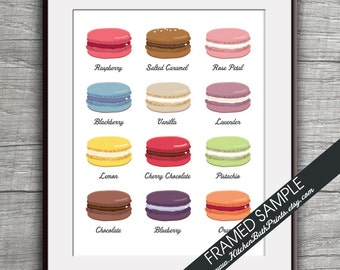 French Macaron Cookies (B) - Kitchen Prints - Art Print (Featured in White) Cute Dessert Pastry Kitchen Art Prints