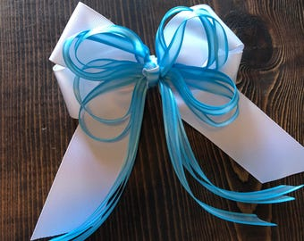 """5"""" (inch) Four Loop Tails Down Bow - White & Sheer Light Blue"""