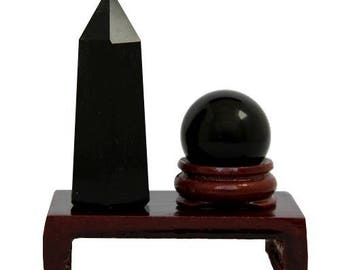 Feng shui sphere and point set in black Obsidian